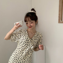 Dress Summer 2021 canary yellow Average size Mid length dress singleton  Short sleeve Sweet V-neck High waist zipper other other Others 18-24 years old Type A ZR3354 30% and below Chiffon Ruili