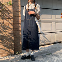 Dress Summer 2021 navy blue Average size longuette singleton  Sleeveless commute other middle-waisted Solid color other A-line skirt other straps 18-24 years old Type H Korean version straps 30% and below Denim