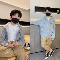 Plain coat Pudding pudding male ash spring and autumn leisure time Zipper shirt There are models in the real shooting routine No detachable cap Solid color cotton Crew neck Cotton 70.8% polyester 29.2%