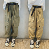 trousers Pudding pudding male Washed yellow, army green spring and autumn trousers leisure time There are models in the real shooting Overalls Leather belt middle-waisted cotton Don't open the crotch Cotton 100% Four, five, six, seven, eight, nine, ten, eleven, twelve, thirteen, fourteen