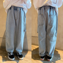 trousers Pudding pudding male Wash blue spring and autumn trousers leisure time There are models in the real shooting Jeans Leather belt middle-waisted Cotton denim Don't open the crotch Five, six, seven, eight, nine, ten, eleven, twelve, thirteen, fourteen