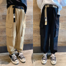 trousers Pudding pudding male Black, Khaki spring and autumn trousers leisure time There are models in the real shooting Overalls Leather belt middle-waisted cotton Don't open the crotch Cotton 100% Four, five, six, seven, eight, nine, ten, eleven, twelve, thirteen, fourteen