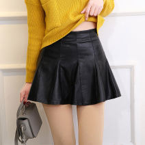 skirt Spring 2021 black Short skirt commute High waist Pleated skirt Solid color Type A 25-29 years old 81% (inclusive) - 90% (inclusive) other Other / other PU Korean version