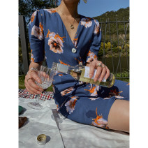 Dress Summer 2020 Deep haze blue S. M, l, s (spot), l (spot), m (spot) Mid length dress singleton  elbow sleeve commute V-neck High waist Decor Single breasted Pencil skirt routine Type H Korean version