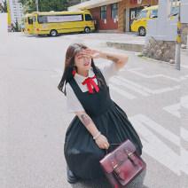 Women's large Summer of 2019 Vest skirt (in stock), shirt (in stock) Large XL, 2XL, 3XL, 4XL Dress singleton  commute Self cultivation moderate Socket Sleeveless Korean version 18-24 years old Medium length