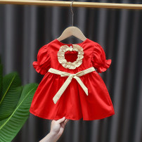 Dress Red blue female DD. Tang / ditiaotang 73cm 80cm 90cm 100cm 110cm Other 100% spring and autumn princess Short sleeve Solid color cotton A-line skirt A2625 Class A Summer 2021 3 months 12 months 6 months 9 months 18 months 2 years 3 years 4 years old