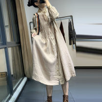Dress Spring 2021 Apricot, coffee, green Average size Short skirt singleton  Short sleeve commute Crew neck High waist Decor Socket A-line skirt routine Others 18-24 years old Type H Button More than 95% other cotton