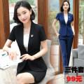 Professional pants suit Black suit, blue suit, black suit + pants (sling), blue suit + pants (sling), black suit + skirt (sling), blue suit + skirt (sling), black suit + pants + skirt (sling), blue suit + pants + skirt (sling) S,M,L,XL,2XL,3XL,4XL,5XL Spring 2018, summer 2018 loose coat Short sleeve
