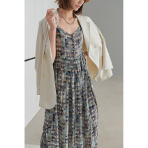 Dress Summer 2021 Gray, fantasy color M,L,XL,. longuette singleton  Sleeveless street V-neck High waist other Socket Pleated skirt other camisole Type H Dff.t/dafengfeng Print, tie dye More than 95% silk Europe and America