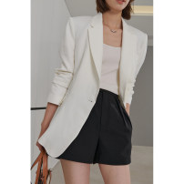 suit Spring 2021 White, white (pre-sale April 22) 36/S,38/M,40/L,. Long sleeves Medium length Straight cylinder tailored collar A button street routine Solid color 96% and above hemp Dff.t/dafengfeng Button, pocket