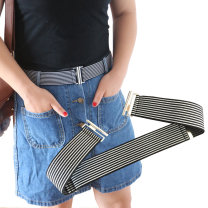 Belt / belt / chain cloth currency belt Simplicity Single loop Children, youth, middle age and old age Smooth button Double button soft surface 4cm alloy Bare Plaid elastic KANGDAI Spring / summer 2018