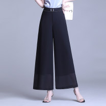 Casual pants black M,L,XL,2XL,3XL,4XL Summer 2021 Ninth pants Wide leg pants High waist commute Thin money 31% (inclusive) - 50% (inclusive) other Simplicity Three dimensional decoration