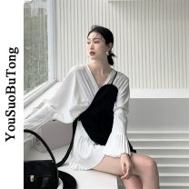 Dress Spring 2021 White dress, black suspender skirt S,M,L Short skirt Two piece set Long sleeves commute V-neck High waist Solid color Socket A-line skirt pagoda sleeve 18-24 years old Type A Fold, splice 6112# 71% (inclusive) - 80% (inclusive) other