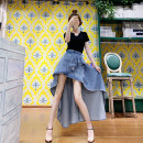 skirt Summer 2021 XS,S,M,L,XL blue Mid length dress Retro High waist Denim skirt Solid color Type A 18-24 years old More than 95% brocade Other / other cotton Ruffles, zippers