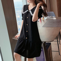Dress Summer 2020 black S,M,L,XL,2XL,3XL Mid length dress singleton  Short sleeve commute Doll Collar Loose waist Solid color Single breasted Ruffle Skirt other Others Type H Other / other Lace other other