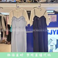 Dress Spring 2021 Black, light blue S, M Mid length dress Short sleeve Socket SJYP