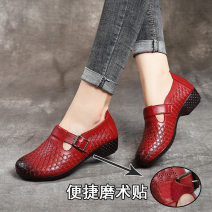 Low top shoes 35,36,37,38,39,40,41 Melinda (costume) Round head Top leather Thick heel Low heel (1-3cm) Midmouth top layer leather Spring 2020 Velcro leisure time Middle aged (40-60 years old), elderly (over 60 years old) Solid color TPR (tendon) Single shoes Belt decoration, thick heel daily