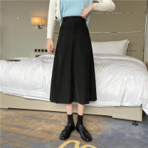 skirt Autumn 2020 M,L,XL,2XL,3XL,4XL black Mid length dress commute High waist A-line skirt Solid color Type A 25-29 years old 81% (inclusive) - 90% (inclusive) other polyester fiber Asymmetric, zipper, stitching Korean version