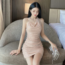 Dress Spring 2021 Black, apricot pink S, M Short skirt singleton  Sleeveless commute Pile collar High waist Solid color Socket One pace skirt routine Hanging neck style 18-24 years old Type H court backless 30% and below brocade polyester fiber