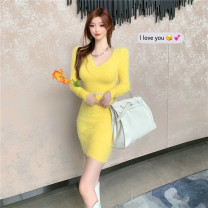 Dress Winter 2020 yellow S,M,L longuette singleton  Long sleeves commute V-neck High waist Solid color Socket One pace skirt routine 18-24 years old Type H Korean version Splicing 30% and below knitting polyester fiber