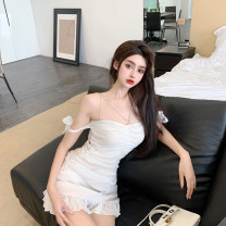 Dress Spring 2021 White is too small S,M,L Short skirt singleton  Sleeveless commute One word collar High waist Solid color zipper One pace skirt other camisole 18-24 years old T-type Korean version 31% (inclusive) - 50% (inclusive) polyester fiber