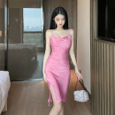 Dress Spring 2021 Pink S,M,L Miniskirt singleton  Sleeveless commute Pile collar High waist Solid color Socket One pace skirt routine camisole 18-24 years old Type H Ol style backless 31% (inclusive) - 50% (inclusive) other polyester fiber
