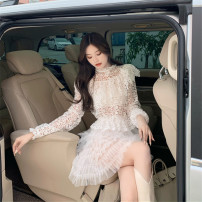 Fashion suit Spring 2021 Average size White lace top, black lace top, white lace cake skirt, black lace cake skirt 18-25 years old 30% and below polyester fiber