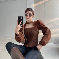 shirt Brown, apricot Average size Spring 2021 other 31% (inclusive) - 50% (inclusive) Long sleeves commute Regular square neck Socket routine Solid color 18-24 years old court polyester cotton