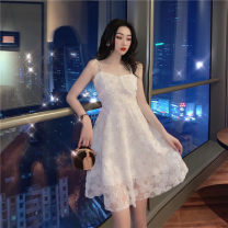 Dress Spring 2021 white S, M Short skirt singleton  Sleeveless commute V-neck High waist Solid color Socket A-line skirt camisole 18-24 years old Type A lady Inlaid diamond, open back, stitching, mesh 30% and below Lace polyester fiber