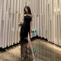 Dress Autumn 2020 black S,M,L longuette singleton  Sleeveless commute One word collar High waist Solid color zipper One pace skirt other Breast wrapping 18-24 years old T-type Korean version Ruffle, open back, stitching, zipper, lace 30% and below Lace polyester fiber