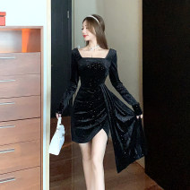 Dress Winter 2020 black S,M,L Short skirt singleton  Long sleeves commute square neck High waist Solid color Socket One pace skirt routine Others 18-24 years old T-type court 30% and below polyester fiber