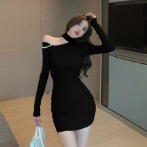 Dress Spring 2021 White, black, pink Average size Short skirt singleton  Long sleeves commute Crew neck High waist Solid color Socket A-line skirt routine Hanging neck style 18-24 years old Type A Korean version Hollowed out, inlaid with diamond, stitched 91% (inclusive) - 95% (inclusive) knitting