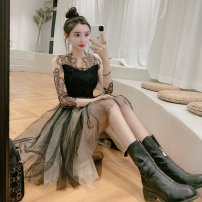 Dress Spring 2021 black S,M,L Middle-skirt singleton  Long sleeves street V-neck High waist Solid color zipper A-line skirt routine 18-24 years old Type A Splicing, mesh 30% and below brocade polyester fiber Europe and America