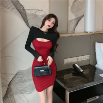 Dress Spring 2021 Apricot, blue, Burgundy S,M,L Short skirt singleton  Long sleeves commute Crew neck High waist Solid color Socket One pace skirt routine 18-24 years old Type H Korean version Hollowed out, stitched 30% and below brocade polyester fiber