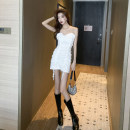 Dress Autumn 2020 White, black M, L Short skirt singleton  Sleeveless commute One word collar High waist Solid color Socket One pace skirt other camisole 18-24 years old T-type Retro Inlaid diamond, open back, fold, stitching 30% and below brocade polyester fiber