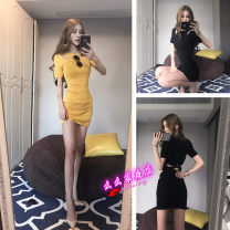 Dress Winter of 2018 Yellow, black Average size Short skirt singleton  Short sleeve street Crew neck High waist Solid color Socket Pencil skirt other Others 18-24 years old T-type Momo's nightclub Open back, stitching 30% and below brocade nylon Europe and America