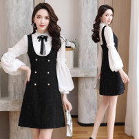 Dress Spring 2021 White, black Mid length dress Fake two pieces Long sleeves commute other middle-waisted Solid color Socket A-line skirt puff sleeve 25-29 years old Type A Weishilu Korean version 31% (inclusive) - 50% (inclusive) other