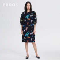 Dress Spring 2021 Black + Orange 155/76A/XS 155/80A/S 160/84A/M 165/88A/L 170/92A/XL 175/96A/XXL Middle-skirt singleton  elbow sleeve Sweet Crew neck High waist Animal design Socket Princess Dress puff sleeve Others 25-29 years old Type X Erdos / Ordos printing 81% (inclusive) - 90% (inclusive) other