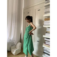 Dress Spring 2021 green S, M longuette singleton  Sleeveless commute other High waist Single breasted Big swing other camisole 18-24 years old Type H HRG style Simplicity H8201 81% (inclusive) - 90% (inclusive) other polyester fiber