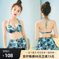 Bikini Si Manqi Green, blue M,L,XL Triangle Bikini Steel strap breast pad SMQ17011