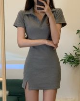 Dress Summer 2021 grey Average size Short skirt singleton  Short sleeve Polo collar High waist Solid color Socket A-line skirt routine Others 18-24 years old Type A Other / other 81% (inclusive) - 90% (inclusive) other