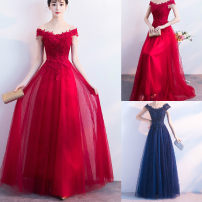 Dress Winter of 2018 Red, blue S,M,L longuette singleton  Short sleeve commute One word collar middle-waisted Solid color zipper Big swing other Others 18-24 years old Type A Other / other Korean version Stitching, mesh, lace 31% (inclusive) - 50% (inclusive) Lace cotton
