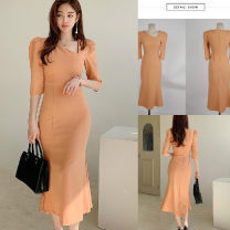 Dress Summer 2021 Picture color S,M,L,XL Mid length dress singleton  elbow sleeve commute Slant collar middle-waisted Solid color Socket One pace skirt routine Others 25-29 years old Type A Korean version Splicing 31% (inclusive) - 50% (inclusive) brocade nylon