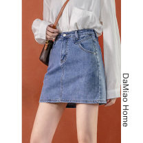 skirt Spring 2021 S,M,L,XL Black, blue Short skirt commute High waist skirt Solid color Type A Denim cotton Pocket, button, zipper, stitching Simplicity