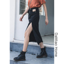 skirt Summer 2021 S,M,L,XL Black, light blue Mid length dress commute High waist Denim skirt Solid color Type A Denim cotton Pocket, asymmetric, button, zipper, stitching, taping Retro