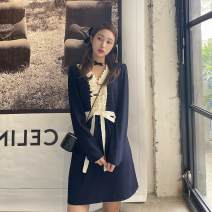 Dress Spring 2021 Navy Blue S,M,L Middle-skirt singleton  Long sleeves commute V-neck middle-waisted Solid color Socket A-line skirt routine Type A Retro Pocket, lace up, stitching, bandage 91% (inclusive) - 95% (inclusive) polyester fiber