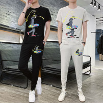 T-shirt Youth fashion Off white, black, light grey thin M,L,XL,2XL,3XL,4XL Others Short sleeve Crew neck Self cultivation Other leisure summer youth routine tide other 2021 Cartoon animation printing Cartoon animation No iron treatment
