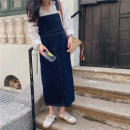 Dress Summer 2021 blue S,M,L,XL Mid length dress singleton  Sleeveless commute One word collar High waist Solid color Socket other other Others 18-24 years old Type H Honey rain Korean version thirty-three thousand six hundred and twelve %