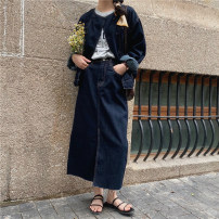 Fashion suit Summer 2021 S. M, l, average size Coat (blue), skirt (blue) 18-25 years old Honey rain 93880/93880%