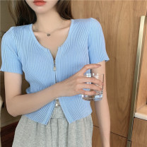 Wool knitwear Spring 2021 Average size White, yellow, blue, black, pink Short sleeve singleton  Socket other 30% and below Regular routine commute easy V-neck routine Solid color zipper Korean version 830% 18-24 years old Honey rain